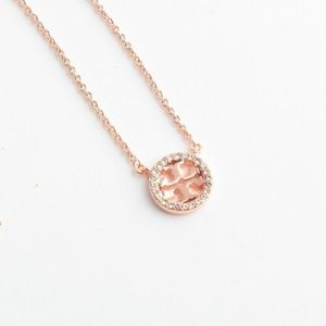 New Tory Burch Rose Gold Crystal Pave Necklace